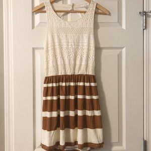 Dresses & Skirts - Open Back Dress with Lace Top and Striped Bottom S